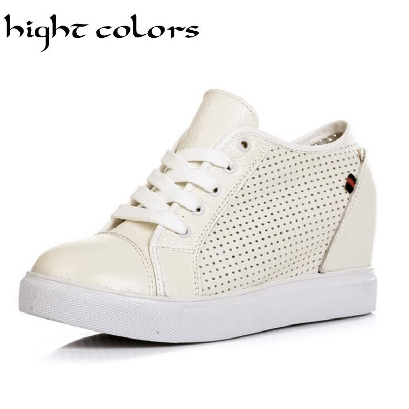 New Ladies Genuine leather Roman Shoes Wedge Heel Lace Up Cut Out Breathable Casual Shoes For Women Fashion Trainer Shoes US9<br><br>Aliexpress