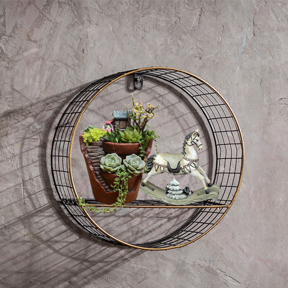 3 Sizes Retro Wall-Mounted Metal Rack Circular Mesh Iron Shelf Industrial Style Round Shelf Office Sundries Organizer Home Decor 5
