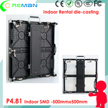 2016 and 2017 hot product indoor led wall mobile renal / die-casting 500x1000mm 500x1000mm p4.81 led video screen wall rental
