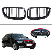 2x Car Gloss Carbon Black Front Kidney Grille Grill for BMW E92 E93 328i 335i M3 2DR Convertible Pre-Facelift  2007-2010 //