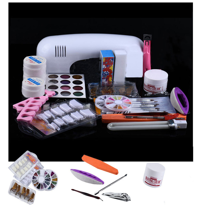 ColorWomen 21 in 1 Set Professional DIY UV Gel Nail Art Kit 9W Lamp Dryer Brush Buffer Tool Nail Tips Glue Acrylic Set 160926<br>
