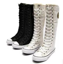 Fashion Students Boots Cheerleaders Dance Shoes Women Shoes Boots High-top Side Zipper Cross-tied Canvas Shoes Large Size 35-43
