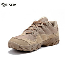 ESDY Men Outdoor Desert Boots U.S Military Assault Tactical Boots Breathable Wear Slip Men Travel Hiking Shoes(China)