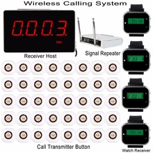 4 Color Restaurant Pager Wireless Calling System Receiver Host+4 Watch Receiver+Signal Repeater+40 Call Transmitter Button F3293(China)