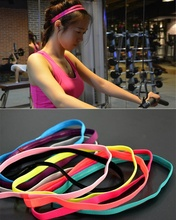 Hot Sale Fashion 1 Pc 10 Colors Pretty  Elastic Headband Softball Colorful Anti-slip Silicone Rubber Hair Bands Hairband