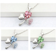 B29 promotion factory hotsell 18KGP Austrian Crystal four Leaf Leaves Clover heart rhinestones necklace pendant jewelry
