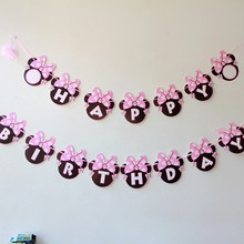 Mickey Mouse Minnie Happy Birthday Paper Bunting 1 Banner/bag mickey Minnie head letter Flags kids birthday Party Favors(China)