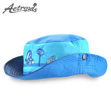 [AETRENDS] 2017 Kids Cap Summer Bucket Hat Breathable Wide Brim Summer Sun Hats for Children Baby Z-5218()