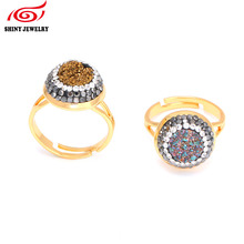 Hot Sale Natural Quartz Agates Stone Adjustable Rings for Women Titanium Druzy Drusy Ring Gold Plating Jewelry Ring Rhinestone