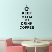 PVC Removable Keep Calm And Drink Coffee English Word Home Decoration Cucina Vinyl Wall Sticker For Kitchen Cafe Shop Wall Decor(China)