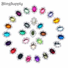 Free shipping 31*24mm acrylic rhinestone button flatback can mix colors 10PCS/lot(BTN-5672)(China)
