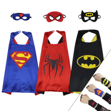 3 PCS SPECIAL L 27* child batman cape felt mask costume cuffs dress up babies spiderman costume cape for kids cos-play(China)