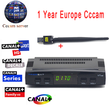 Cccam cline For 1 Year Freesat V7 HD DVB-S2 Satellite Receiver Support Power Vu Biss Key Ccam + 1PC Usb Wifi Europa Cccam Server(China)