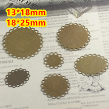 Copper 13*18mm,18*25mm~Antique Bronze Lace Flat Pad Blank Pendant Trays Bases Cameo Cabochon Setting for Glass/Stickers