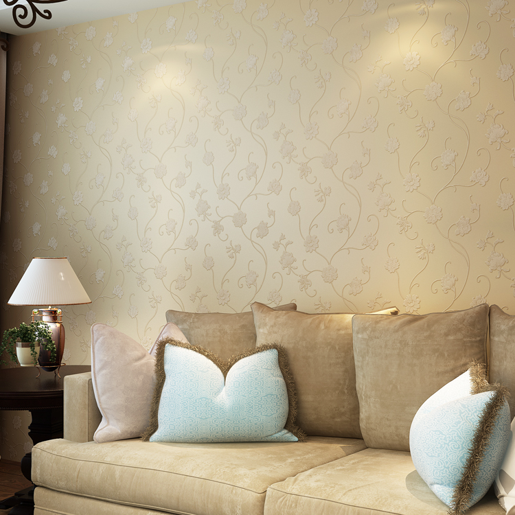 Flocking Elegant European rural non-woven wallpaper The bedroom the head of a bed Spread the sitting room TV setting wall paper<br>