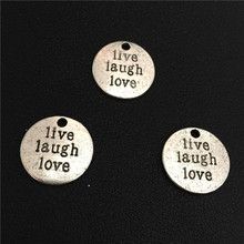 4pcs 20mm New Round Vintage Antique Silver Tone Message Lettering Live Laugh Love Lucky Charms Pendant Best Wishes Birthday Gift