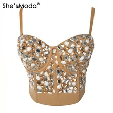 She'sModa Khaki Rinestone Hand-made Pearls Bralet Corselets Women's Bustier Bra Cropped Top Wedding Bralette Vest Plus Size