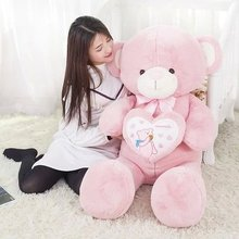 large teddy bear 100cm plush toy love heart bear doll soft throw pillow, Christmas birthday gift x043(China)