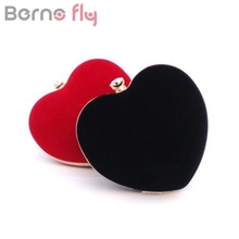 Berno fly Brand New Heart design women evening bags girlfriend gift clutch purse evening bags for wedding bridal handbags
