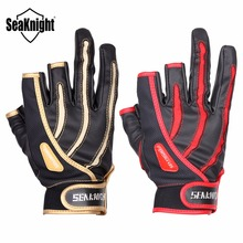 SeaKnight SK01 Outdoor Fishing Gloves 1Pair 3 Finger Cut Breathable Anti-Slip Gloves Neoprene cloth&PU Sport Fishing Equipment(China)
