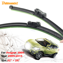 Buildreamen2 1Pair Bracketless Soft Rubber Car Windshield Wiper Blades For Peugeot 3008 2009-2016 Frameless Auto Wiper Blade