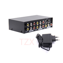2017 Newest Arrival High Quality 4 Port 1x4 AV Video Audio Splitter RCA with Metal Housing 1 in FOR 4 out for DVD HDTV(China)