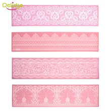 Delidge 1 pc 40.4*10.1 cm Flower Lace Mold Silicone Cake Border Decoration Mat Fondant Lace Wedding Cake Decorating  Pad