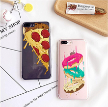 I love coffee Pizza Slice Cheese Donuts Macaron Soft TPU Cover For iphone 5S SE 6 6S 7 7Plus Back Cover Sketch food Phone Case