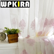 Blue Embroidery Curtain White Floral Tulle Rose Lace Fashion Window Curtains Living Room Purple Curtain Decoration Pour Salon 30