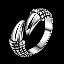 Fashion Jewelry Punk Claw Antique Gothic Viking Ring Party Fingernail Anti-Silver Biker Ring Male Retro Masculino Anel R177