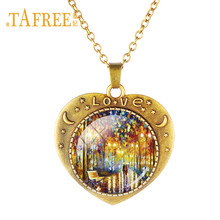 TAFREE Famous Art Painting Maple Leaf, Ginkgo Biloba Glass Dome Necklace Lovers Walk The Path In Forest Jewelry Love Gift TB312(China)