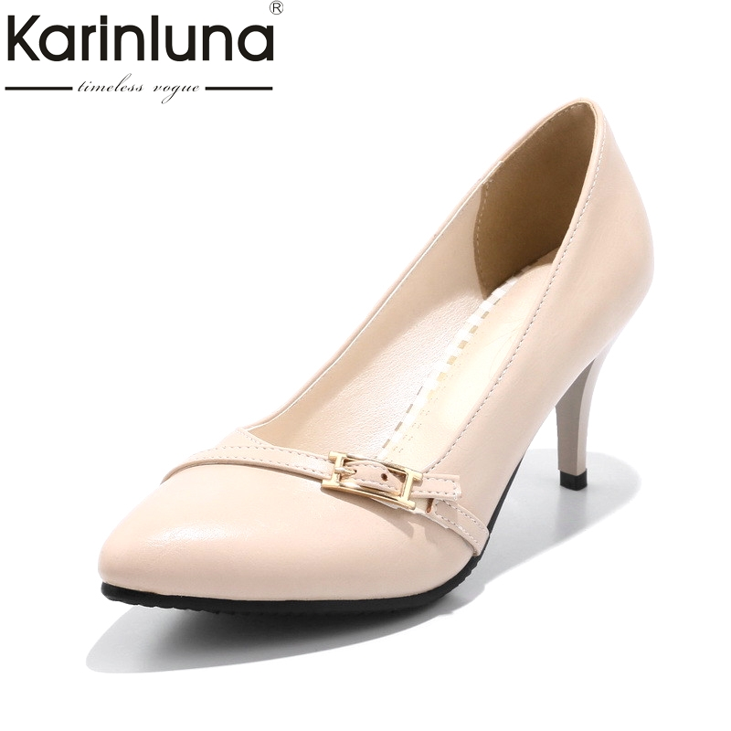 KarinLuna Womens Buckle Decoration High Heels Pointed Toe Office Shoes Woman Pointed Toe Less Platform Pumps Big Size 33-43<br>