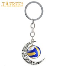 TAFREE Summer Beach Volleyball picture glass alloy moon pendant keychain casual volleyball sports team key chain jewelry T255