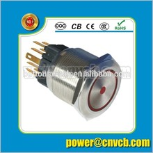 TY 2505F 25mm Ring lamp brass doorbell 24VDC red led momentary metal push button switch(China)