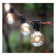 100Ft G40 Globe String Lights with Bulbs Outdoor Market Lights for Indoor/Outdoor Commercial Decor,Black(China)