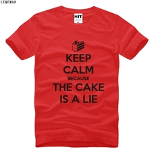 Fashion Keep Calm Because The Cake is a Lie Letter Printed T Shirt Men Portal 2 Tee Shirt Short Sleeve Casual Cotton Men T-Shirt(China)