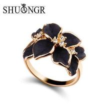 SHUANGR 2017 Hot Sale Jewelry Ring With Gold Color Austrian Crystal Black&White Color Enamel Flower Wedding Ring For Women(China)