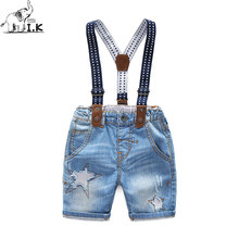 I.K Children Jean Pants 2017 Summer Cotton Unique Toddler Baby Boy Bottom Shorts With Star Patchwork Kids Brand Belt pants A1065
