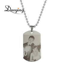 DUOYIGN Personalized Photo Engraved Necklace Custom Picture Back-Engraving Pendant Anniversary Mother's Day Gift Ebay Supplier