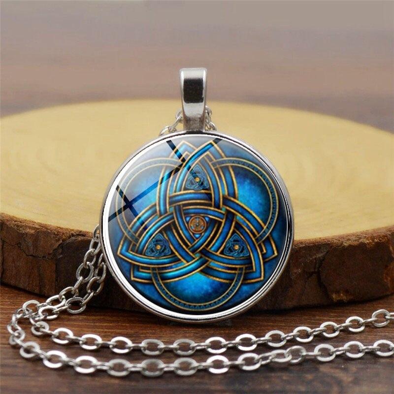 Celtic Art Dragon Photo Cabochon Glass Tibet Silver Chain Pendant  Necklace
