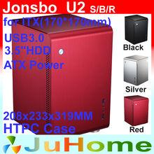 HTPC ITX Mini case, small case of the HTPC computer, aluminum, Home theater multimedia computer Jonsbo U2 V4 V2 V3+ U1(China)