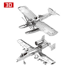 2pcs 3D Metal Nano Puzzle Hansa Brandeburg W29 Airplane A-10 Attact Aircraft Assemble Model Kit DIY 3D Laser Cut Jigsaw Toy