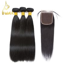 HairUGo Hair Pre-colored Brazilian Straight Hair with Toupee #1b Nature Color 3 Bundles Human Hair with Closure Hair Extension(China)