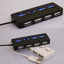 High Speed Hot Sale 4 Port 2.0 Adapter Cable LED USB Hub For PC Laptop Sharing With Power On/Off Switch 2-4 CE(China)