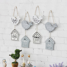 BIG OFFER! ZAKKA Postral Style Creative Gift Wooden Door Board House & Brid Letter Pringint Welcome Board Home Decoration(China)