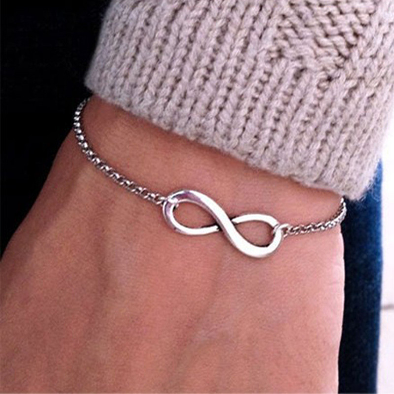 SL117 Hot Wholesale Fashion Pulseras Bijoux 2017 New Women 8 Infinity Bracelet For Men Jewelry Gift Charm Bracelets Bangles(China (Mainland))