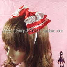 Ultralarge cosplay embroidered bow headband lolita hair accessory lolita princess hair accessory  cosplay cos hair band bow