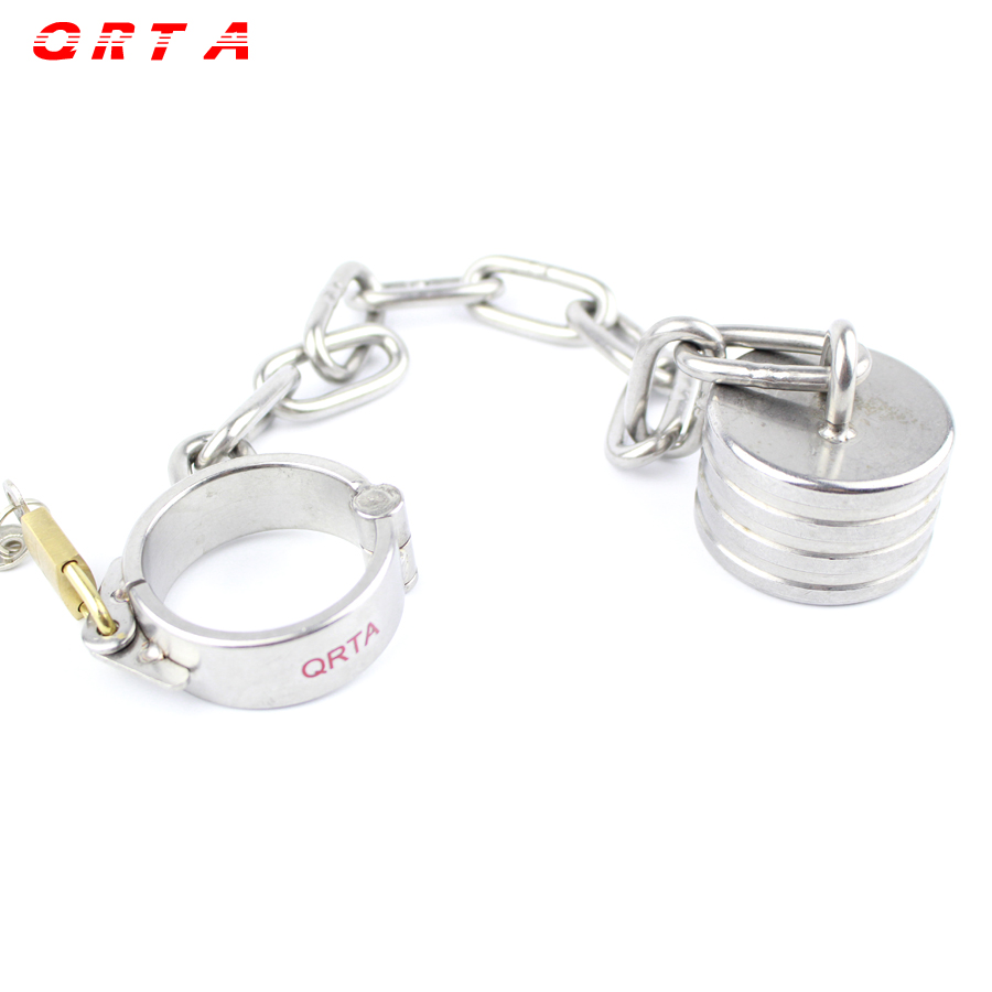 QRTA stainless steel chain penis weight scrotum stretcher cock ring testicle pendant rings heavy cockring sex toys for men<br>