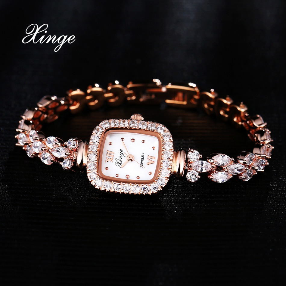 Xinge Zircon Luxury Women Rose Gold Watches Women Bracelet Watch Business Quartz Wristwatches Dress Fashion Female Wrist Watch<br>
