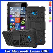 Luxury Hybrid TPU Shock Proof Silicone + Hard Shell Cell Phone Case Cover For Microsoft Lumia 640 Lte Dual Sim Case Back Cover(China)